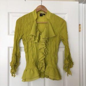 Milano | Lime green ruffle sheer blouse